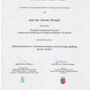 Dyplom za pracę na temat właściwości owsa
